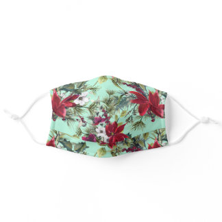 Evergreen and Poinsettia Floral Pattern Adult Cloth Face Mask