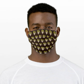 Evil Jester Skull (Yellow) Adult Cloth Face Mask