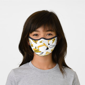 Excavator Construction Trucks and Tools Pattern Premium Face Mask