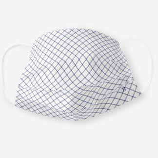 Executive Men Navy White Check w Optional Initial Cloth Face Mask