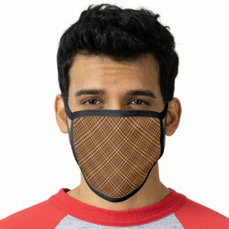 Executive Men's Brown Black Plaid All-Over Print Face Mask