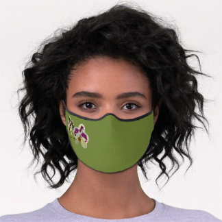 Executive Women's Olive Green Orchids Premium Face Mask