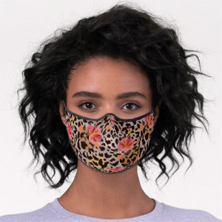Exotic Cheetah Print With Hibiscus Floral Pattern Premium Face Mask
