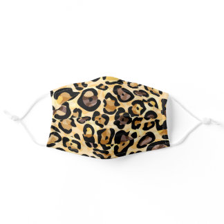 Exotic Faux Wild Leopard Fur Print Pattern Adult Cloth Face Mask