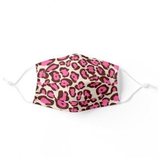 Exotic Faux Wild Leopard Fur Print Pattern Pink Adult Cloth Face Mask