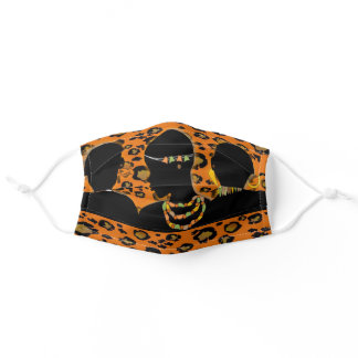 Exotic Leopard  Print Afrocentric African Princess Adult Cloth Face Mask