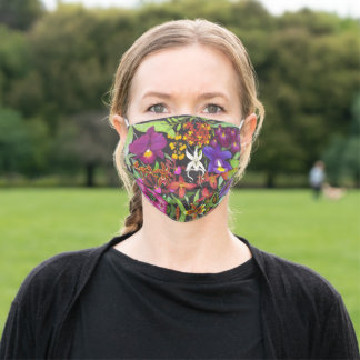 Exotic Tropical Orchid Flowers Art Adult Cloth Face Mask