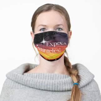 Expect Miracles Sparkle Sunset Inspirational Quote Adult Cloth Face Mask