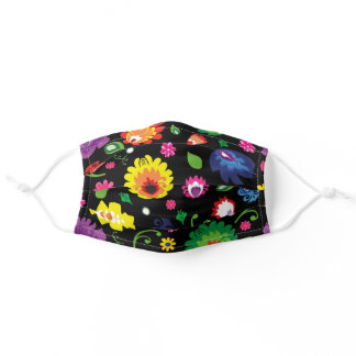 Eye-catching folk meadow,  on black -large pattern adult cloth face mask