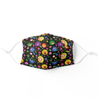 Eye-catching folk meadow,  on black -small pattern adult cloth face mask