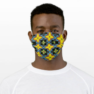 Eye-Catching Pattern Yellow Blue Green Black Adult Cloth Face Mask