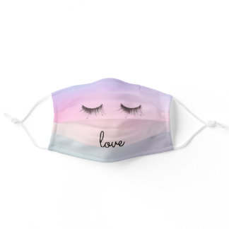 Eyelashes love Purple Pink Tie dye Adult Cloth Face Mask