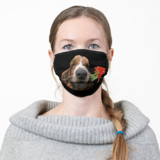 Face Mask Basset Hound With Flower