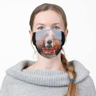 Face Mask Basset Hound With Red Bow TIe