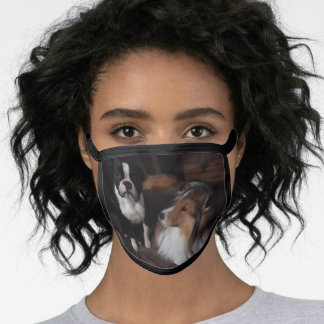 Face mask with Sheltie and Boston Terrier