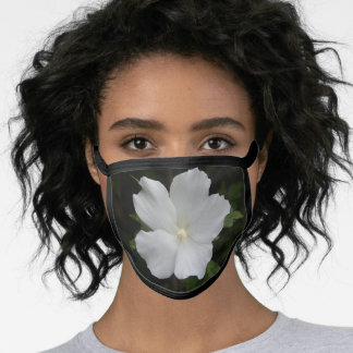 face mask with white rose of sharon flower