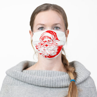 Face santa claus with line art style adult cloth face mask