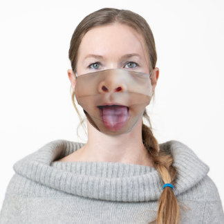 Face with tongue out of the mouth Funny Adult Cloth Face Mask