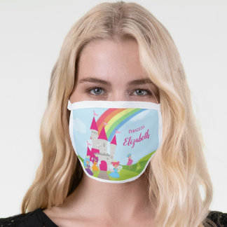 Fairy Princess with Rainbow and Castle Girls Face Mask
