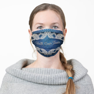 Faith Over Fear, Denim & Lace Cloth Face Mask