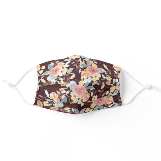 Fall burgundy yellow floral watercolor pattern adult cloth face mask