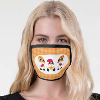 Fall Gnomes on Gingham Face Mask