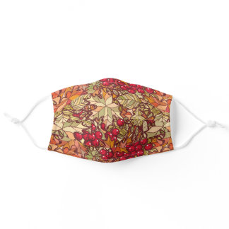 Fall Leaves Berries Autumn Pretty Adult Cloth Face Mask