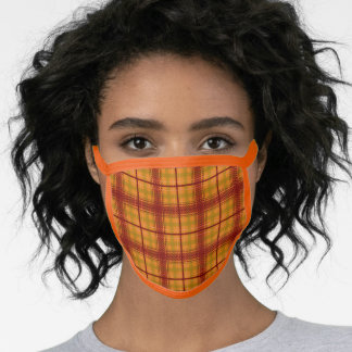 Fall Orange and Rust Red Plaid Face Mask