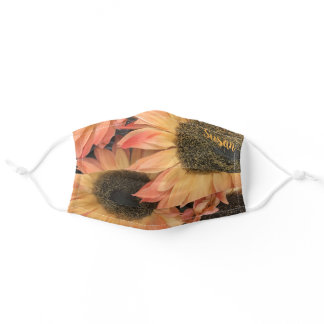 Fall Orange Yellow Sunflower Floral Personalized Adult Cloth Face Mask