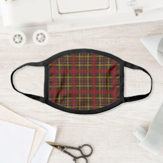 Fall Plaid Dark Red and Dark Gray/Black Face Mask