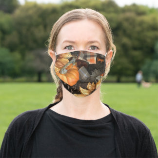 Fall Pumpkin Pattern Autumn Thanksgiving -Add Name Adult Cloth Face Mask