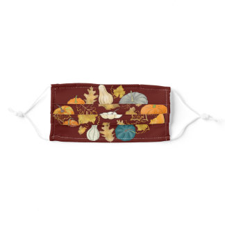 Fall Style Pumpkins and Gold Foliage Adult Cloth Face Mask