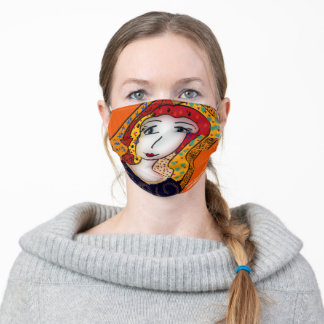 FANCY HAIR LADY - ORANGE ADULT CLOTH FACE MASK
