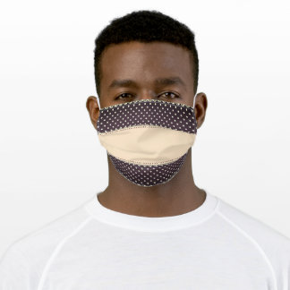 Fancy Stripe Light Beige and Brown Retro Polka Dot Adult Cloth Face Mask