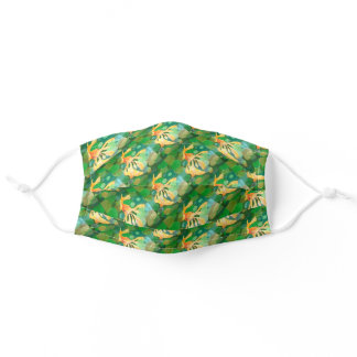 Fantail Goldfish With Green Bubbles Vector Adult Cloth Face Mask