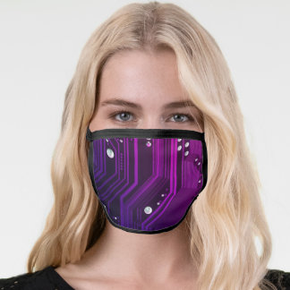 Fantasy Purple Blue Circuit Board Face Mask