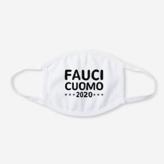 Fauci Cuomo 2020 ,Andrew Cuomo, Doctor Fauci White Cotton Face Mask