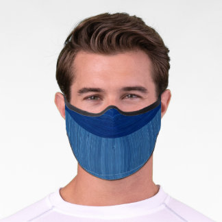 Faux Bamboo Border Wood Grain in Cobalt Blue Premium Face Mask