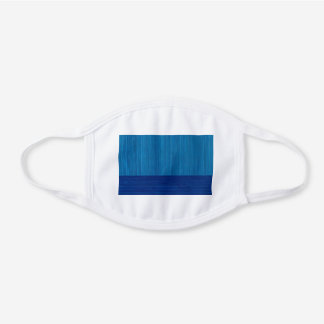 Faux Bamboo Border Wood Grain in Cobalt Blue White Cotton Face Mask