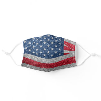 Faux Glitter American Flag Patriotic Adult Cloth Face Mask