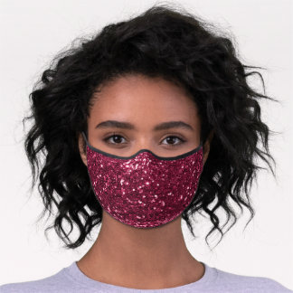 Faux Glitter Chunky Sequin Pink Premium Face Mask