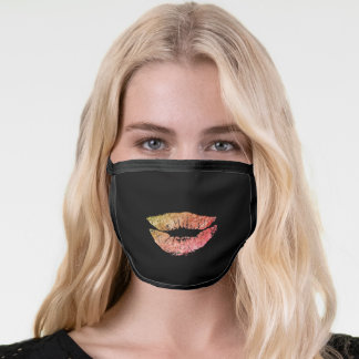 Faux glitter colorful lips on black funny kiss face mask