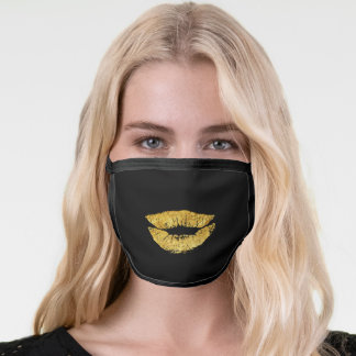 Faux glitter gold lips on black funny kiss face mask