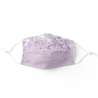 faux glitter lavender adult cloth face mask