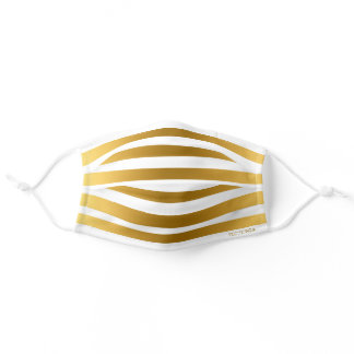 Faux Gold and White Stripes Pattern Personalized Adult Cloth Face Mask