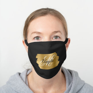 Faux Gold Brushed Metal Foil Monogram Black Cotton Face Mask