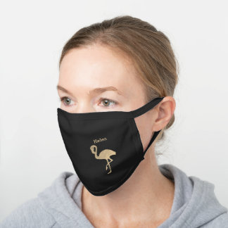 Faux gold foil flamingo black cotton face mask