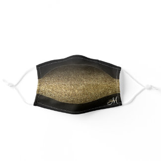 Faux Gold Glitter Black Ombre Monogram Adult Cloth Face Mask