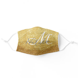 Faux Gold Glitter Monogram Name Adult Cloth Face Mask