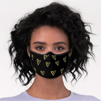 Faux Gold Scribbled Heart Pattern on Black Premium Face Mask
